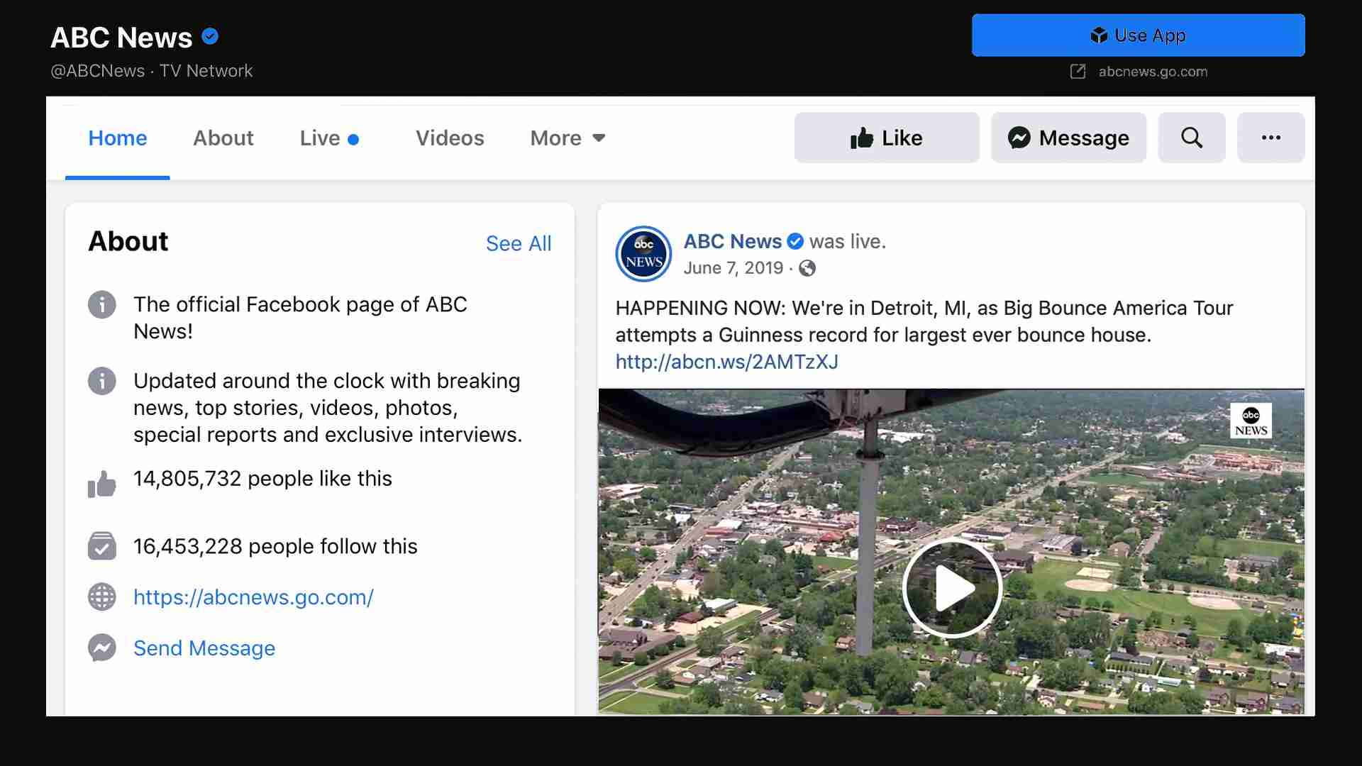 Image of ABC News' Facebook page covering Big Bounce America
