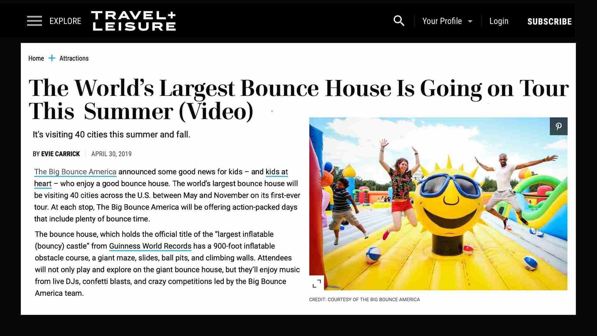 Text in Travel + Leisure magazine describing Big Bounce America