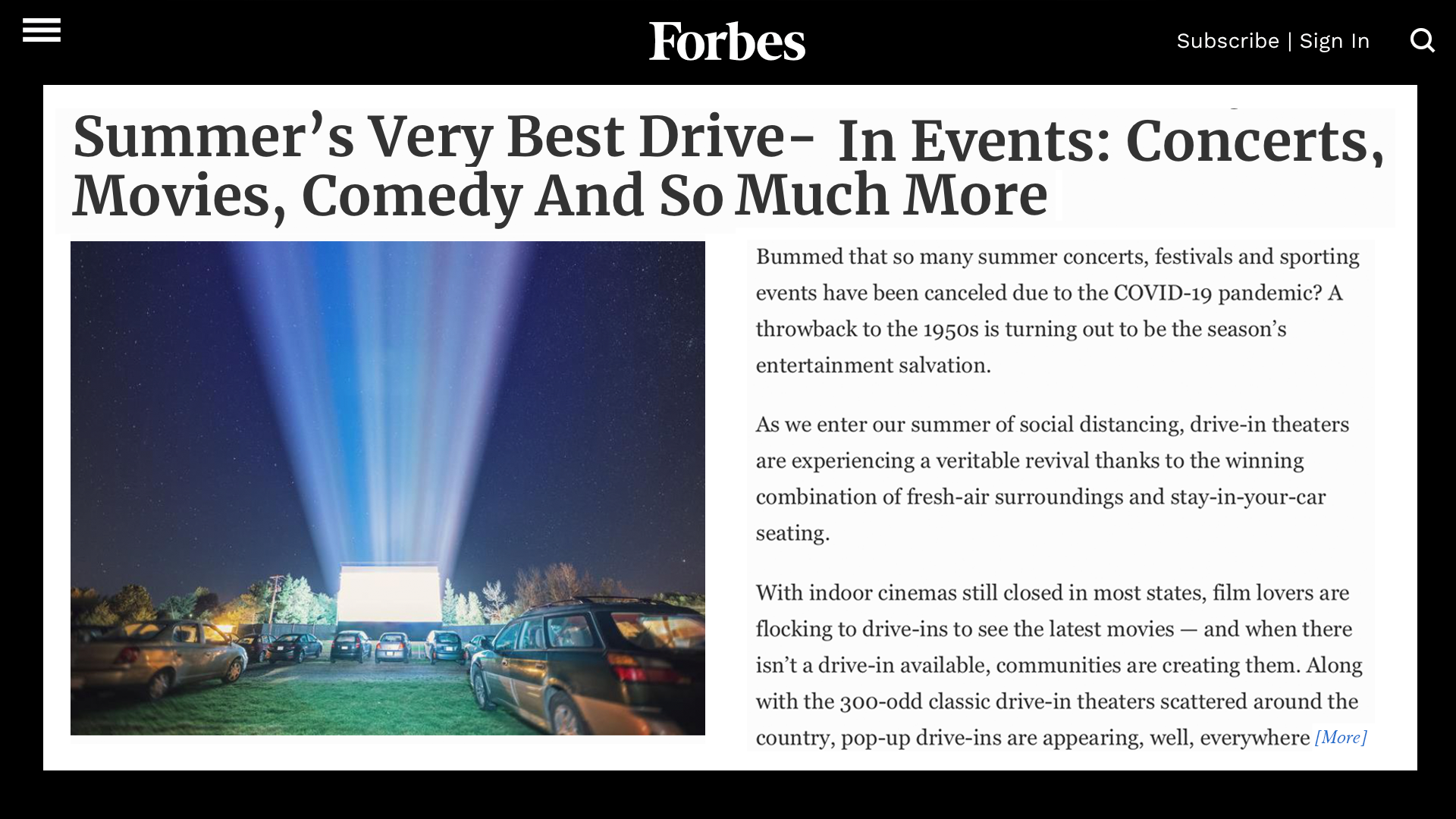 Forbes press clipping on Parking Lot Social