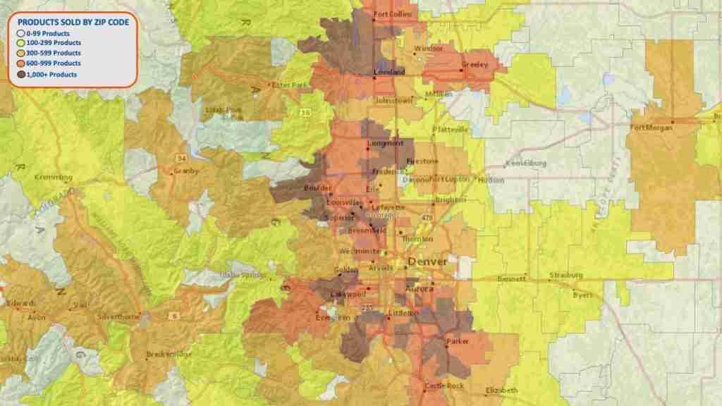 Map of Denver area media buying by zip code